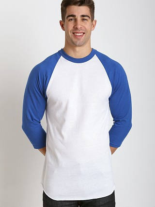 Model in white/royal Soffe Classic Baseball Jersey