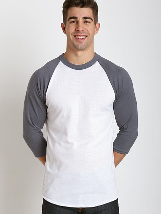 Model in white/grey Soffe Classic Baseball Jersey