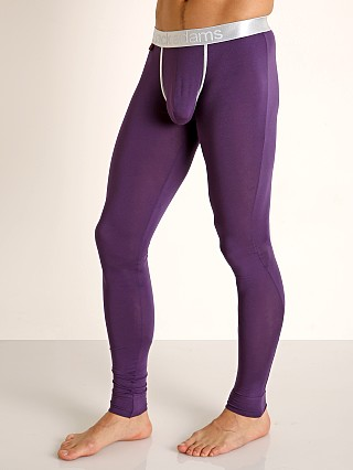 Model in purple Jack Adams Lux Modal Pouch Long Johns