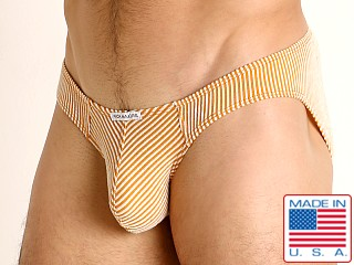 Model in yellow Rick Majors Two-Tone Rib Super Low Rise Brief