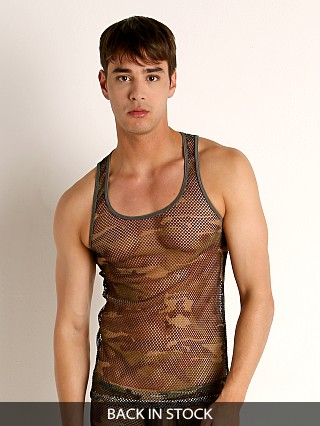Model in army camo Rick Majors Camouflage Artillery Mesh Tank Top