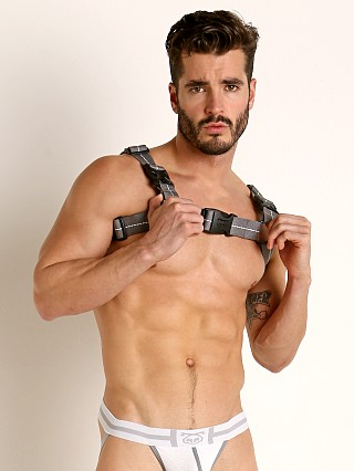 Model in grey Nasty Pig Turbine Bulldog Harness