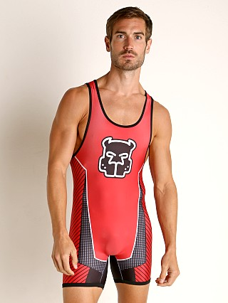 Model in red Cell Block 13 Kennel Club Slit Back Scout Singlet