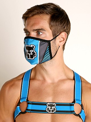 Model in turquoise Cell Block 13 Kennel Club Mask