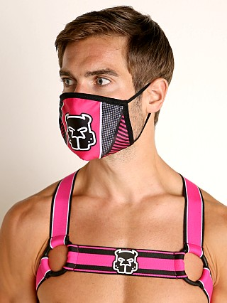 Model in pink Cell Block 13 Kennel Club Mask