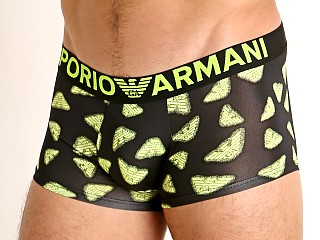 Model in neon eagles Emporio Armani Eagle Arcade Pop Prints Trunk