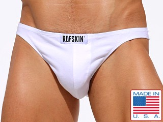 Model in white Rufskin Fred Super Low Rise Briefs