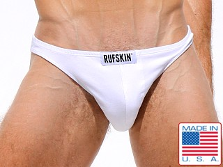 Model in white Rufskin Ron Stretch Cotton Thong
