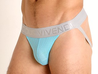 Model in aqua Modus Vivendi Pop Perforated Mesh Jockstrap