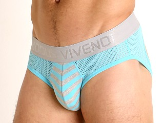 Model in aqua Modus Vivendi Pop Perforated Mesh Backless Brief