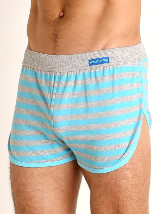 Model in aqua Modus Vivendi Pop Stripes Lounge Short