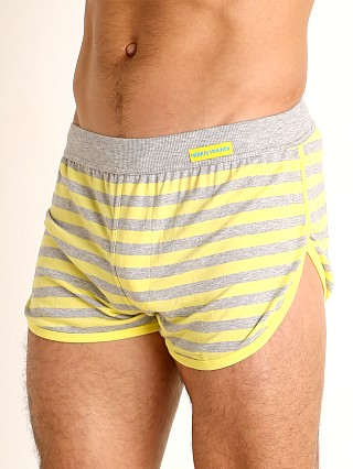 Model in yellow Modus Vivendi Pop Stripes Lounge Short