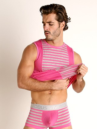 Model in fuchsia Modus Vivendi Pop Perforated Mesh Muscle Shirt