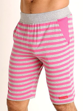 Model in fuchsia Modus Vivendi Pop Stripes Lounge Knee Short