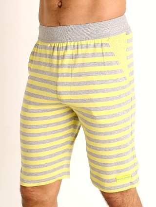 Model in yellow Modus Vivendi Pop Stripes Lounge Knee Short