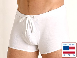 Model in white Go Softwear Pool Party Ribbed Lounge Short