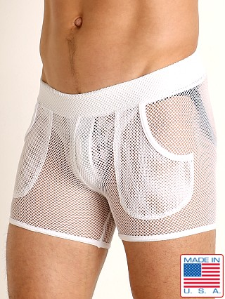 Model in white Go Softwear Pool Party Stretch Mesh Short