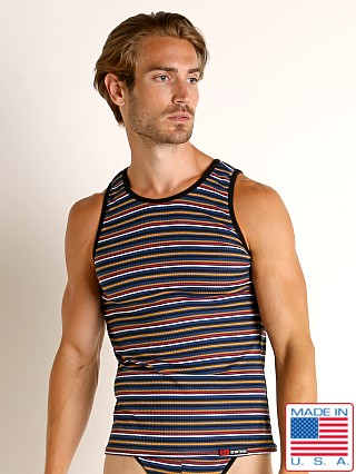Model in navy stripe Go Softwear California Sunset Tank Top