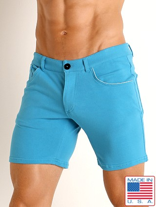 Model in caribbean blue Go Softwear Havana 5-Pocket Short