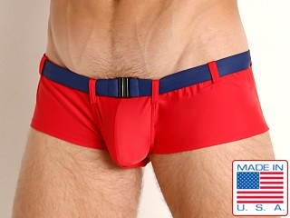 Model in red Go Softwear Riviera Square Cut Swim Trunk