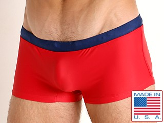 Model in red/navy Go Softwear Las Olas C-Ring Swim Trunk