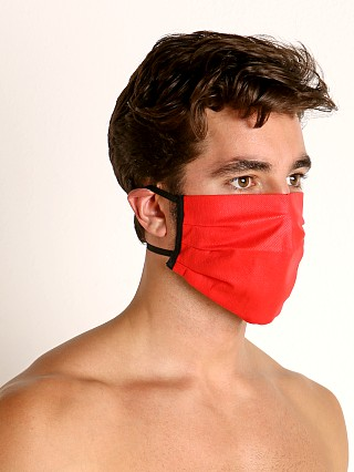Model in red McKillop Polypropylene Face Mask
