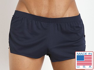 Model in navy American Jock Ultra Sheer Running Short