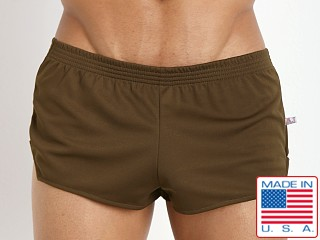 Model in olive American Jock Ultra Sheer Running Short