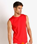 Modus Vivendi Secret Pleat Mesh Panel Muscle Shirt Red, view 3