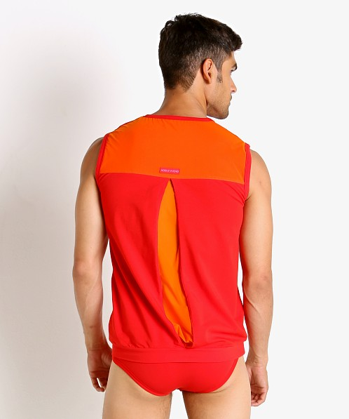 Modus Vivendi Secret Pleat Mesh Panel Muscle Shirt Red