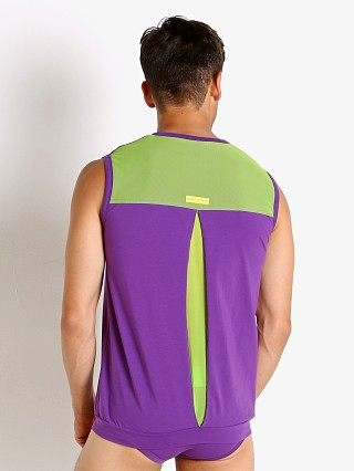 Model in purple Modus Vivendi Secret Pleat Mesh Panel Muscle Shirt