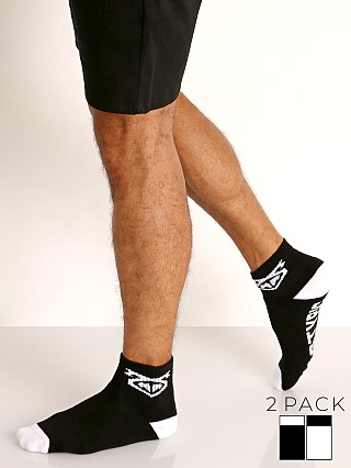 Model in black/white Nasty Pig Flasher Socks 2-Pack