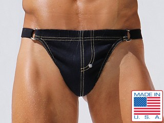 Model in indigo Rufskin Prince Stretch Denim Thong