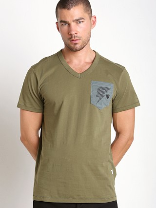 Model in sage G-Star Skulon Compact Jersey V-Neck Shirt