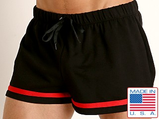 Model in black American Jock Equipo Bench Short