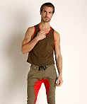 American Jock Equipo Scoop Tank Top Olive, view 2