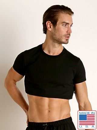 Model in black American Jock Equipo Half Tee