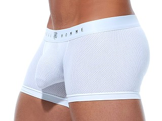 Model in white Gregg Homme Room Max Air Mesh Trunk