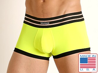 Model in neon lemon Sauvage C-Thru Waistband Trunk