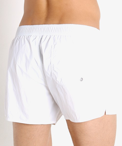 Emporio Armani Embroidery Logo Swim Shorts White