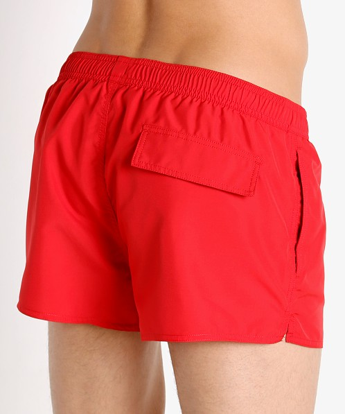 Emporio Armani Bold Logo Tape Swim Shorts Poppy