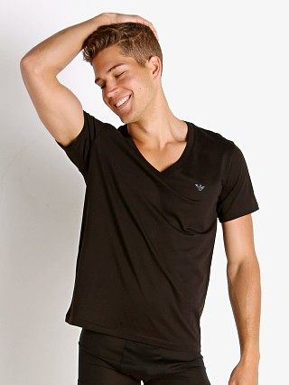 Model in black Emporio Armani Rainbow Eagle V-Neck Shirt
