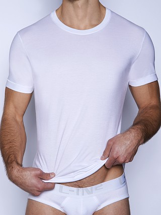 Model in white C-IN2 Core Crew Neck Pima Tee