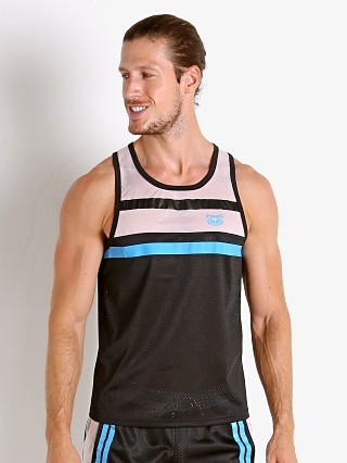 Model in black/white Nasty Pig Contact Tank Top