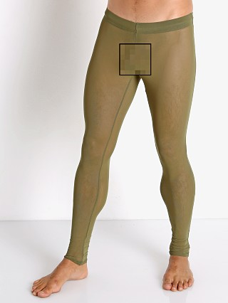 Model in army McKillop Sleek Ultra Stretch Mesh Tights