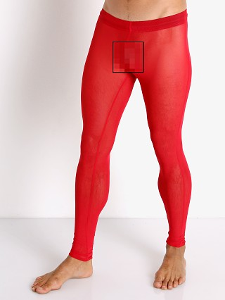 Model in red McKillop Sleek Ultra Stretch Mesh Tights