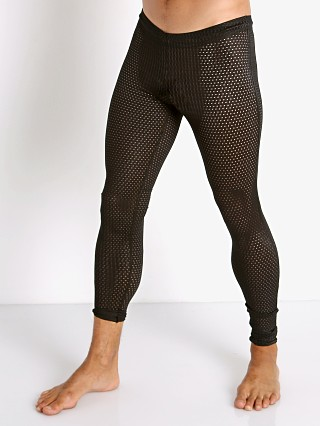 Model in black McKillop Sleek Expose Mesh Tights