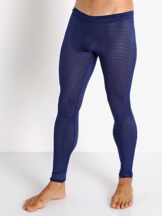 Model in navy McKillop Sleek Expose Mesh Tights
