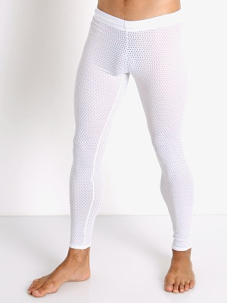 Model in white McKillop Sleek Expose Mesh Tights