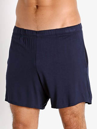 Model in navy McKillop Propel Modal Lounge Shorts